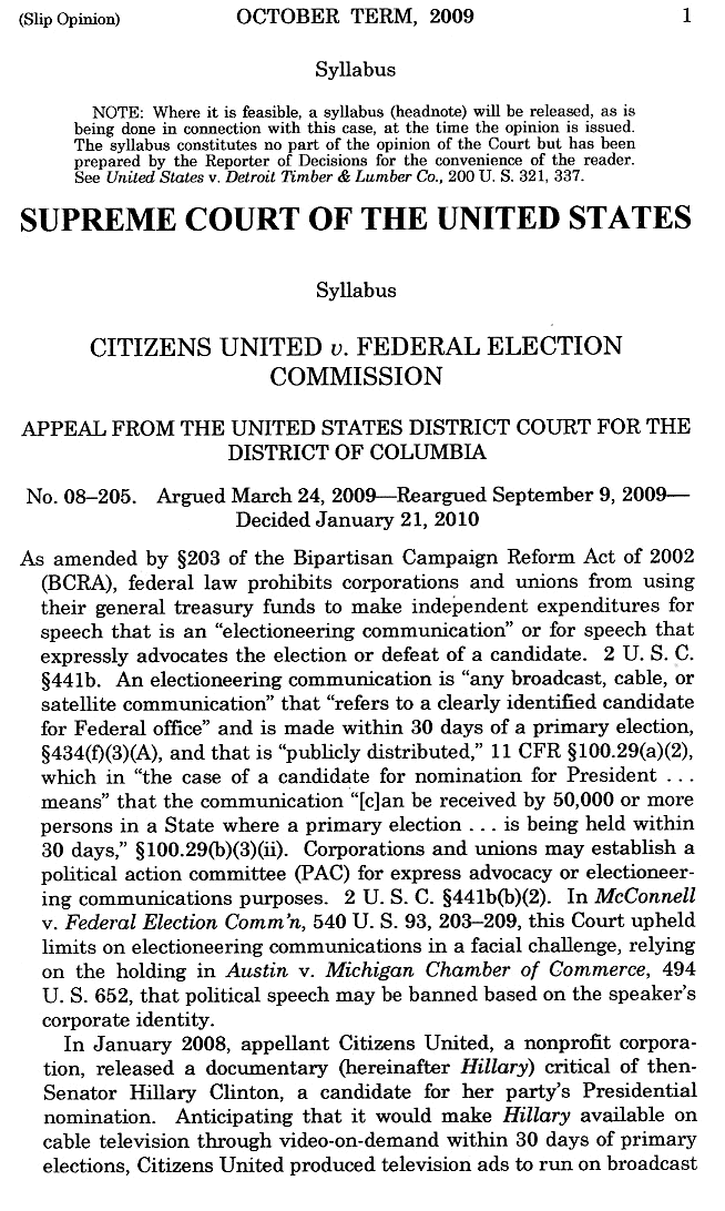 USSC Citizens United vs FEC